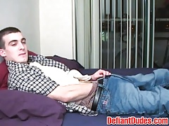 Horny Darrell takes out his cock from his pants