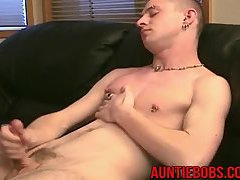 Seth jacking off his huge cock and playing with his ass