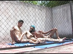 Young Gay Latino Threesome Spit Roasting
