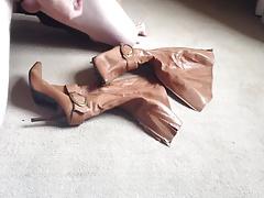 Cumming on tan knee boots