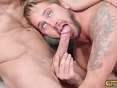 Hunk gays deep throat blowjob and pounds anal