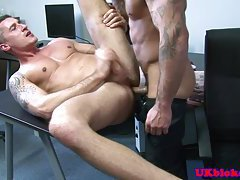 English muscled jock anal romp on desk