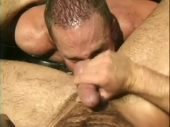 Insatiable poofter gives a blowjob and gets fucked in a pool
