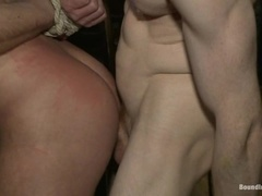 A bald fairy gets his mouth and ass fucked hard at a party
