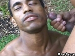 Black homo lets his insatiable BF invade his asshole outdoors