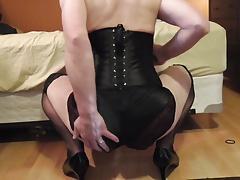 Black satin ass