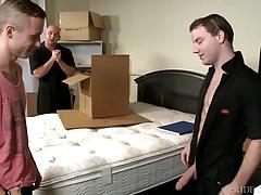 ExtraBigDicks Hung Mover takes 2 Cocks at Once