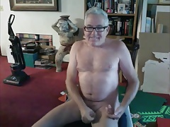 mature dad with glasses empties his balls