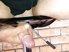 horny uncut cock fucking a chair