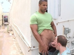 Robert Axel and Ben Tramer make interracial gay love in public