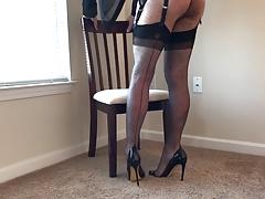 Grey Stockings & Heels
