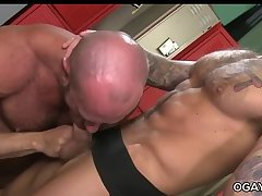 Hairy matures fuck in the locker room