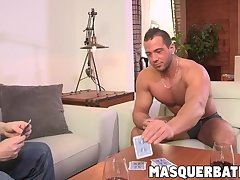 Big cocked hunk loses poker game and must solo wank off