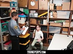 YoungPerps - Tiny shoplifter gets fucked by two mall cop