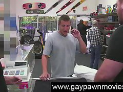 Amateur needing cash seen in gay pawn shop on camera