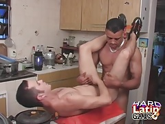 Latinos Ass Fucking And Cumming In The Kitchen