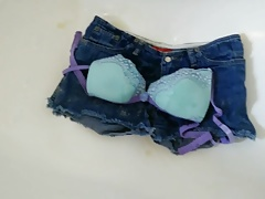 Piss and cum Shorts and bra