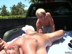 Blonde queer Hayden Chandler blows and gets his ass smashed outdoors