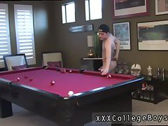 Teen boy cock sucked at the pool room