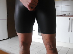 Cum over my new shiny Spandex Shorts