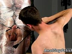 Gay bondage discipline Cristian is almost swinging packaged up in string and chained to