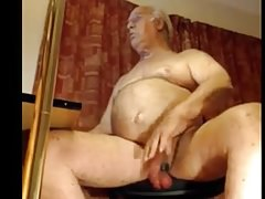Daddy stroking uncut meaty cock on cam
