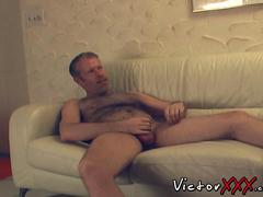 Hairy daddy enjoying in blowjob and masturbation action