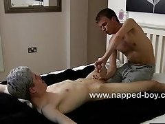 Calvin Croft tied down to the bed naked is edged