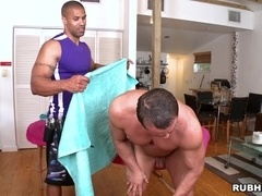 Robert Axel fingers and fucked bulky gay daddy Skye Woods's ass