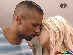 Blonde tranny Aubrey Kate gets fucked by a black man