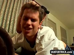 Skater hunk getting his ass slapped on the couch