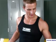 Assfucked muscular straight bottom sucks cock