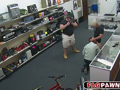Pawnshop thief sucks dick and fucks anal for his freedom