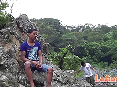 Two hunky Latino boys sucking cocks in the rocks