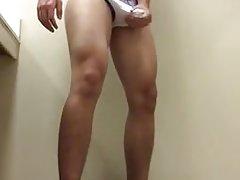 Hot muscled College Bi Twink jerks off in public bathroom
