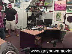 Straight guy stripping for gay cash in pawn shop office