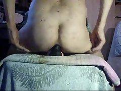 Mature gay rides his sex toys