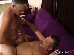 Two daddies with piercing and tattoo loves hardcore action