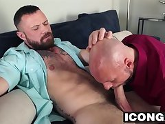 Bearded muscular hunk fucks his friend in his tight ass