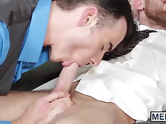Sexy Damien Michaels smashes two hot asses with his big dick