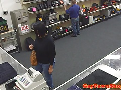 Pawnshop thief fucked and facialized in trio