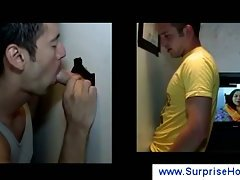 Hot muscled guy doing a blowjob