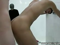 Hazing teens suck and fuck in the shower