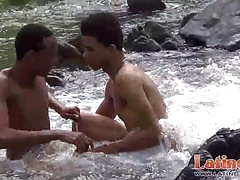 Sexy Latinos strip naked and go skinny dipping