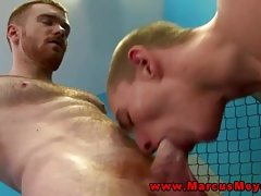 Muscled straight jock swallows work out friends cock