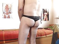 wetlook string schwarz