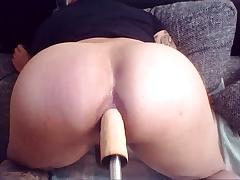 Big Dildo Anal Fuckmachine with milk squirt