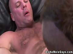Gay muscle man rimming and gives bj