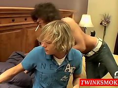 Dillon and Kyros smoke in bedroom and suck and fuck bareback