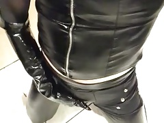 faux leather leggings, shorts, pvc vest, nylons and gloves